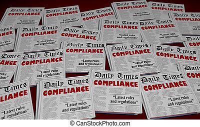 obéir, règles, conformité, illustration, règlements, journal, gros titres, 3d