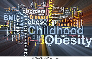 obésité, concept, enfance, fond, incandescent