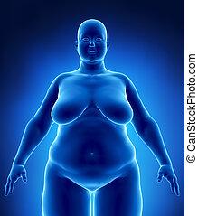 obésité, concept, femme, rayon x