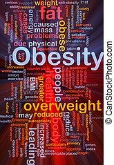 obésité, concept, graisse, fond, incandescent
