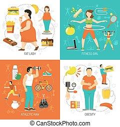 obésité, et, santé, concept