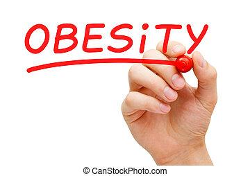 obésité, rouges, marqueur