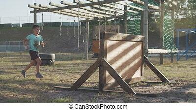 obóz, bagażnik, chłopiec, kaukaski, trening
