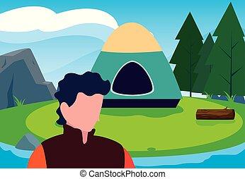 obóz, las, człowiek, rzeka krajobraz, namiot