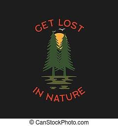 obóz, projektować, print., las, -, wektor, łata, zdobywać, pustynia, wielki, insygnia, outdoors, logo, badge., obozowanie, inny, t-shirt, label., nature., stracony, przygoda, na wolnym powietrzu, pień, prints.