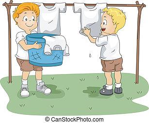 obóz, wisząc ubranie