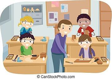 obóz, wyrabianie z drewna, stickman, ilustracja, dzieciaki