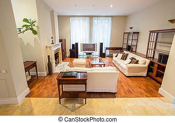 obývací pokoj celodenní, jádro, nákladný, ubytovat se