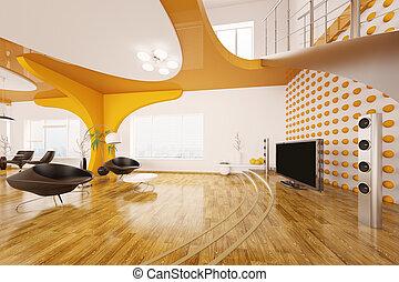 obývací pokoj celodenní, render, moderní, design, vnitřní, 3