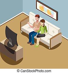 obývací pokoj celodenní, rodina, dávat si pozor televize, mládě