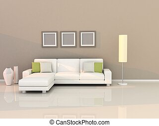 obývací pokoj celodenní, s, moderní, móda