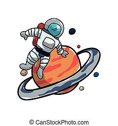 oběžnice, saturn, astronaut