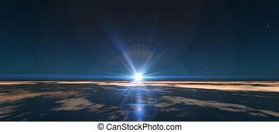 oběžnice, východ slunce, proložit