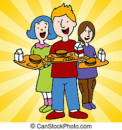 oběd, škola, plán