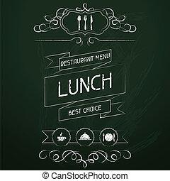 oběd, dále, ta, restaurace menu, chalkboard.