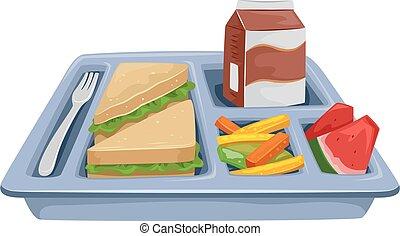 oběd, podnos, jídlo, držet dietu