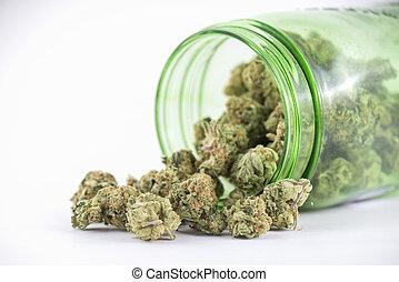 (ob, brotes, segadora, cannabis, strain), aislado, vidrio, blanco, tarro, verde, detalle