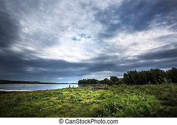 Ob river. Western Siberia - Summer cloudy morning over the ...