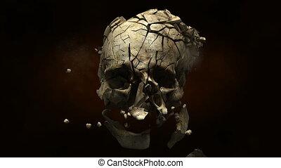 obalając, czaszka, z, kula, w, powolny
