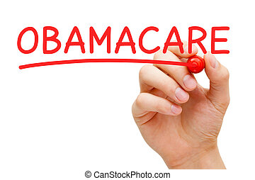 Hand writing Obama Care with red marker on transparent wipe board.
