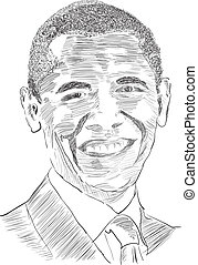 Obama - Drawing the United States President Obama. Vector.