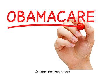 obamacare, красный, маркер