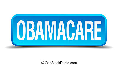 Obamacare blue 3d realistic square isolated button