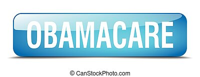 obamacare blue square 3d realistic isolated web button