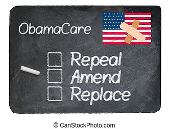 Obamacare health plan choice written in chalk on a chalky natural slate blackboard isolated against white background