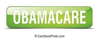 obamacare green square 3d realistic isolated web button