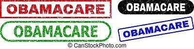 OBAMACARE grunge stamps. Flat vector distress seal stamps with OBAMACARE message inside different rectangle and rounded forms, in blue, red, green, black color versions.