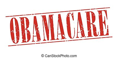 obamacare red grunge vintage stamp isolated on white background