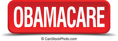 obamacare, rood, 3d, plein, knoop, vrijstaand, op wit