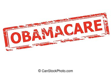 Rubber stamp with word obamacare inside, vector illustration