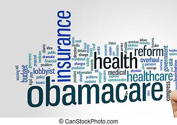 obamacare, wort, wolke