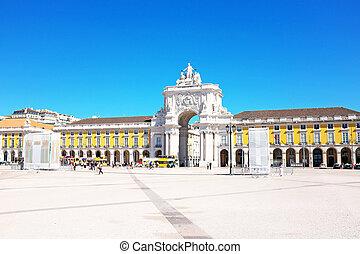 obchod, čtverec, jeden, o, ta, většina, důležitý, orientační bod, o, lisabon, s, ta, slavný, jásavý lukostřelec, do, portugalsko