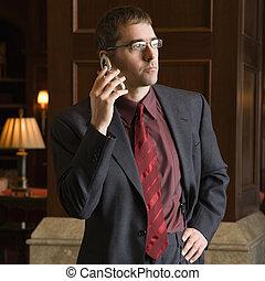 obchodník, dále, cela, telefonovat.