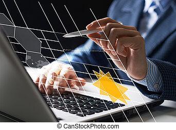 obchodník, finanční machinace, díla, data