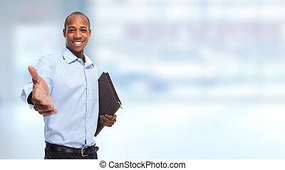 obchodník, handshake., afričan- američanka