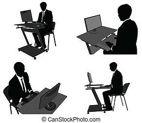 obchodník, jeho, počítač, pracovní