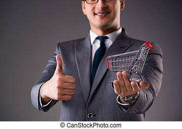 obchodník, majetek, shopping vozík, do, business pojem