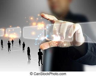 obchodník, majetek, touchscreen