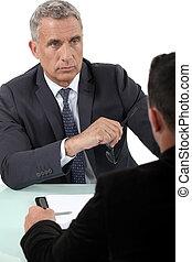 obchodník, naslouchání poslech, do, jeden, kolega