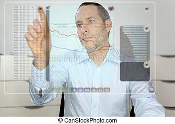 obchodník, počítač, futureistic, vystavit, díla