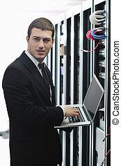 obchodník, počítač na klín, místo, sí obsluha
