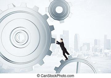 obchodník, podnikavý, sloučit, mechanismus