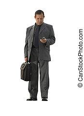 obchodník, s, cela- telefonovat, osamocený