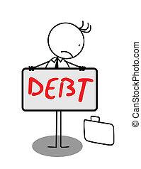 obchodník, skličující, dluh, prapor