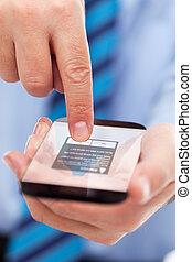 obchodník, smartphone, futuristický, ruce
