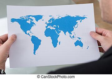 obchodník, společnost, majetek, mapa